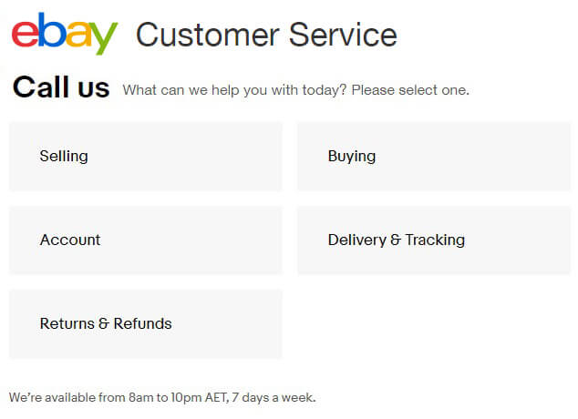 ebay australia phone number