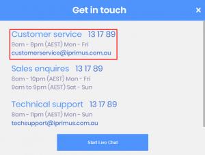iprimus phone number