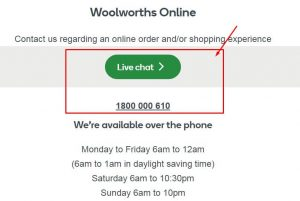 woolworths live chat